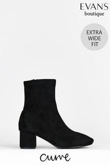 Evans Curve Extra Wide Fit Black Sock Boots