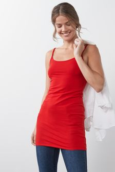 Red Longline Thin Strap Vest