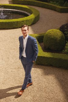 Blue Skinny Fit Check Suit: Jacket