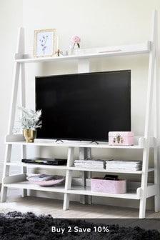 White Gloss TV Ladder Shelf
