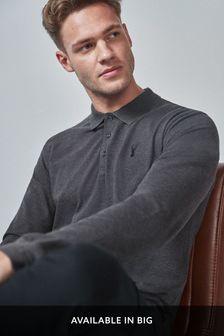 Dark Grey Long Sleeve Pique Poloshirt