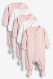 Pink/White 5 Pack Essentials Sleepsuits (0-12mths)