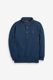 Navy Long Sleeve Pique Polo Shirt (3-16yrs)