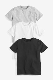 Monochrome 3 Pack Short Sleeve T-Shirts (3-16yrs)