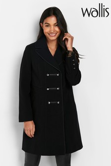 Wallis Petite Black Crepe Coat