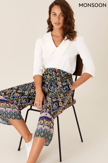 Monsoon Black Contrast Print Culottes