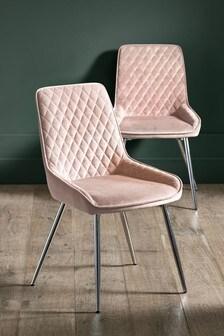 Opulent Velvet Blush Set of 2 Hamilton Dining Chairs With Chrome Legs