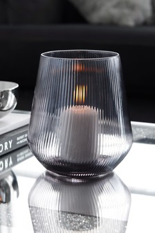 Smoke Glass Candle Holder Hurricane