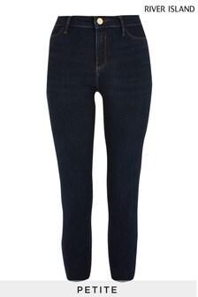 River Island Petite Dark Denim Molly Mid Rise Fettuccine Jeans