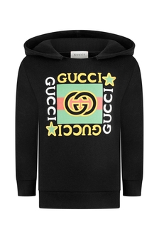 Kids Black Cotton Vintage Logo Hoody