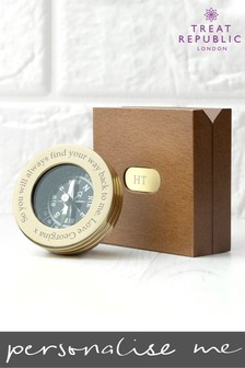 Personalised Brass Travellers Compass With Wooden Box by Treat Republic