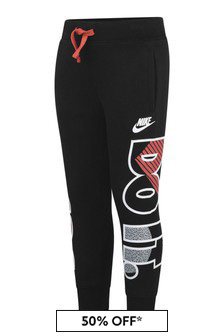 Boys Black Cotton Just Do It Joggers