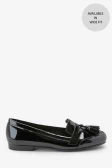 Black Patent Cleated Tassel Loafers