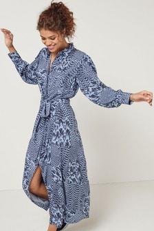 Blue Swirl Shirt Dress