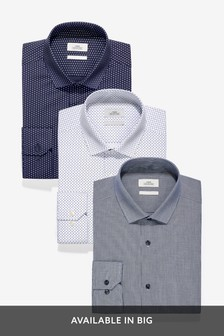Blue Texture And Print Slim Fit Single Cuff Shirts Three Pack