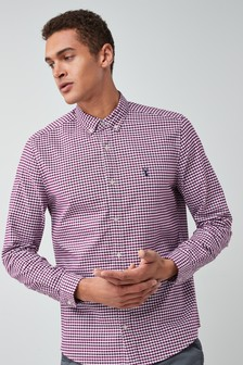Purple/White   Long Sleeve Gingham Check Shirt