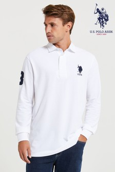 U.S. Polo Assn. Blue Classic Long Sleeve Rugby Shirt