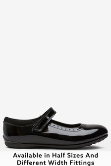 Black Patent Standard Fit (F) Leather Mary Jane Brogues