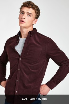 Berry Slim Fit Long Sleeve Cord Shirt