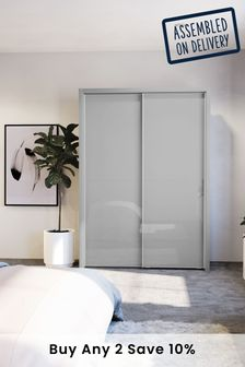 Glass Peyton Grey Medium Sliding Wardrobe