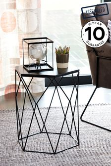 Black Hexagon Side Table / Bedside