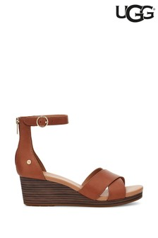 UGG® Tan Eugenia Leather Wedge Sandals