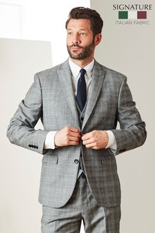 Black/White Jacket Signature Check Tailored Fit Suit