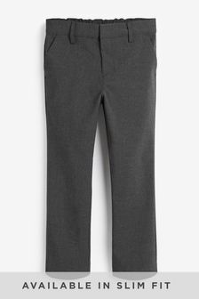 Grey Slim Waist Formal Stretch Skinny Trousers (3-17yrs)