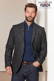 Grey Moons British Wool Signature Check Blazer