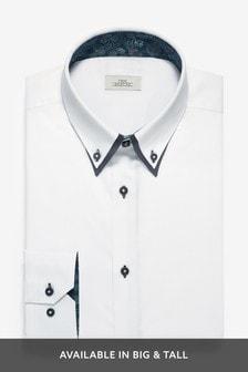 White Regular Fit Single Cuff Double Collar Shirt