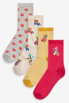 Red Frenchie Cushion Sole Ankle Socks Four Pack