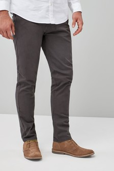 Dark Grey Straight Fit Stretch Chinos