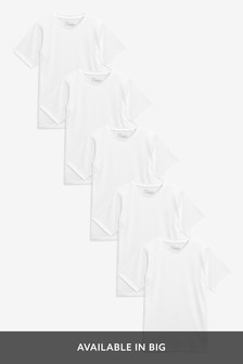 White Regular Fit Crew Neck T-Shirts Five Pack