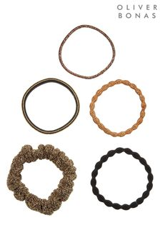 Oliver Bonas Amber Mixed Elastic & Scrunchies Five Pack