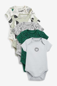 Green Elephant 5 Pack Short Sleeve Bodysuits (0mths-3yrs)