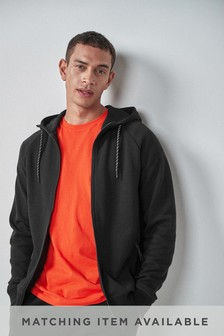 Black Zip Through Hoody