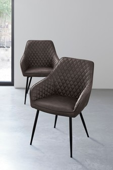 Monza Faux Leather Charcoal Set of 2 Hamilton Arm Dining Chairs With Black Legs