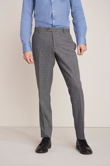 Grey Slim Fit Check Formal Trousers