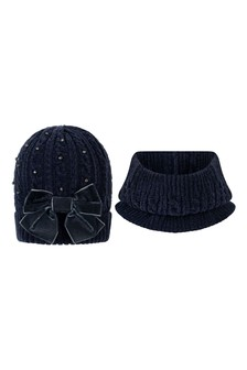 Girls Navy Hat & Scarf Set
