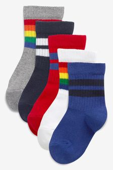 Bright 5 Pack Ribbed Sport Socks (Younger)