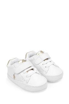 Baby Girls White & Gold Prewalker Trainers