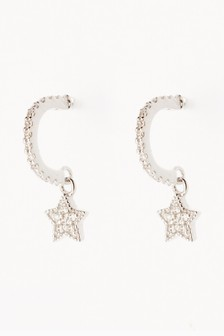 Sterling Silver Pave Star Charm Hoop Earrings
