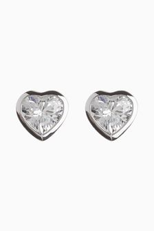 Sterling Silver Delicate Heart Stud Earrings
