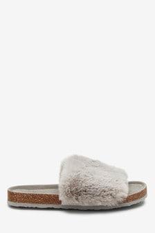 Grey Cork Faux Fur Sliders