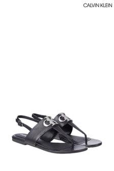 Calvin Klein Black Flat Sandals