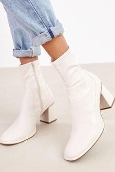 Bone Regular/Wide Fit Square Toe Zip Sock Boots