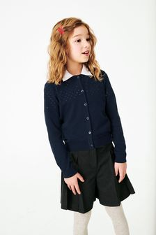 Navy Pointelle Detail Cardigan (3-16yrs)