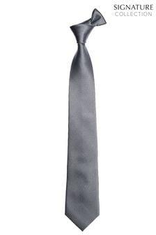Grey Wide Signature Textured Silk Tie
