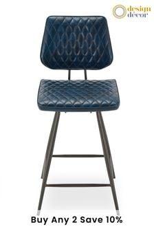 Faux Leather Blue Carson Bar Stool By Design Décor