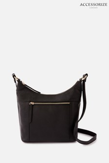Accessorize Black Sadie Leather Scoop Cross Body Bag